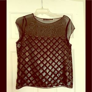 Sheer black sequined All Saints top